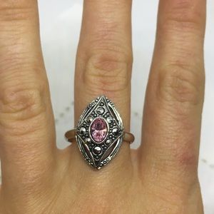Vintage Avon marcasite and pink stone ring